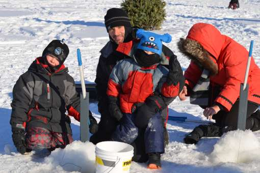 Guided family ice fishing