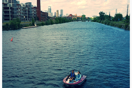 boat on the lachine canal