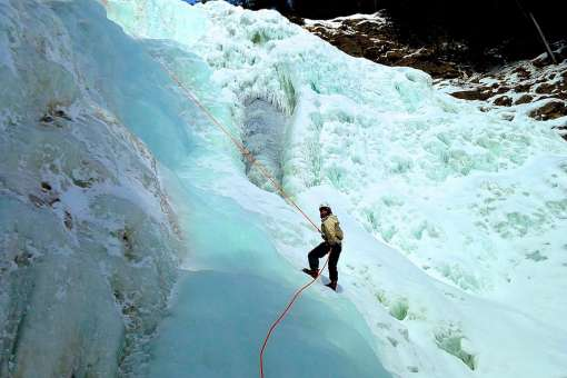 Ice-Canyoning at Jean-Larose Falls