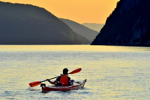 Sea kayaking on the Saguenay Fjord