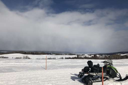 Snowmobiling ride in Saguenay