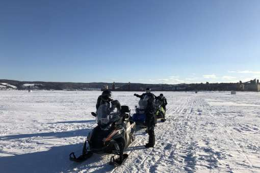 snowmobiling with friends