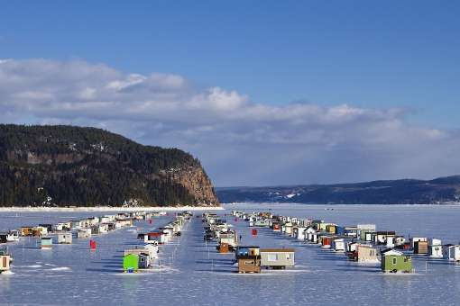 Ice fishing on Saguenay Fjord